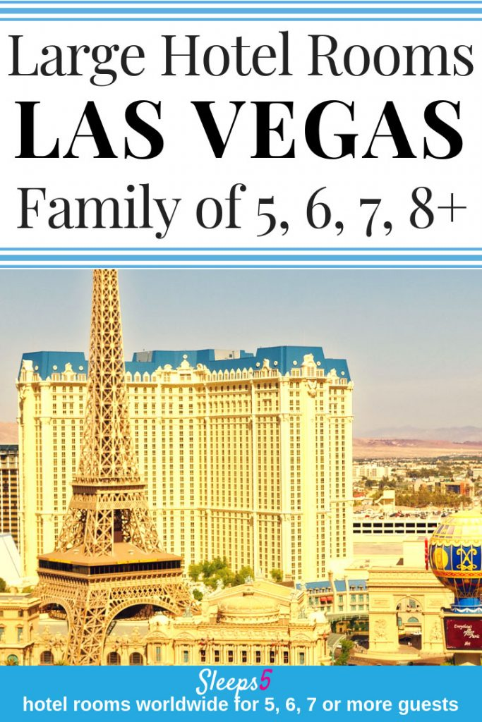 Kid-friendly Las Vegas Hotel Rooms and Suites for a large family of 5, 6, 7, or 8. The list includes hotels that are more family-friendly, for a perfect stay in Las Vegas with Kids! Some have bedrooms, or kitchen, pull out sofa, or condo. Large suites with one-bedroom or two-bedroom or bigger! Pools. Patios. Views.